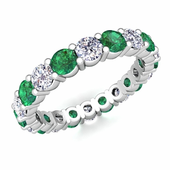 Diamond and Emerald Eternity Ring Band in Platinum