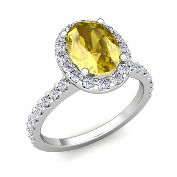 Petite Pave Set Diamond and Yellow Sapphire Halo Engagement Ring in 14k Gold, 9x7mm