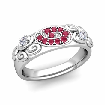 Swirl Diamond and Ruby Wedding Ring Band in Platinum, 5.5mm