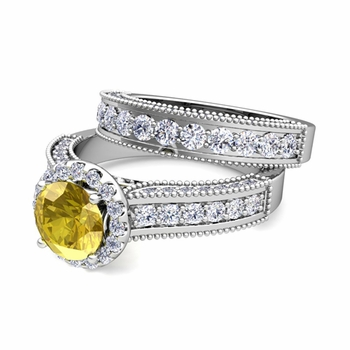 Bridal Set of Heirloom Diamond and Yellow Sapphire Engagement Wedding Ring in Platinum, 7mm