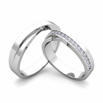 Matching Wedding Bands Infinity Diamond Ring Set In Platinum