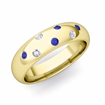 Comfort Fit Scattered Sapphire and Diamond Wedding Band in 18k Gold, 5mm