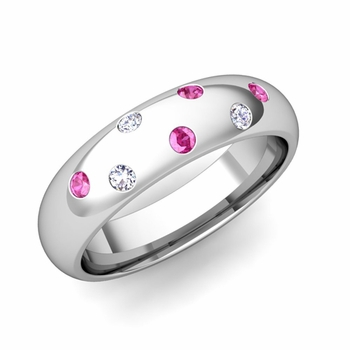 Comfort Fit Scattered Pink Sapphire and Diamond Wedding Band in Platinum, 5mm