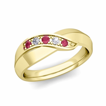 5 Stone Ruby and Diamond Wedding Ring in 18k Gold Infinity Ring Band, 5.2mm