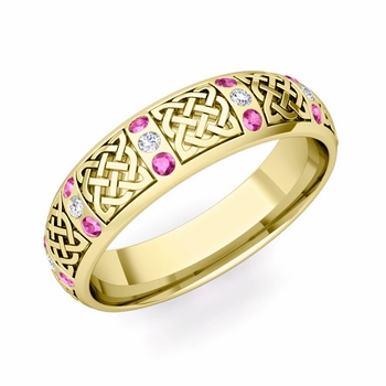 Pink Sapphire Diamond Wedding Ring in 18k Gold Celtic Wedding Band, 6mm