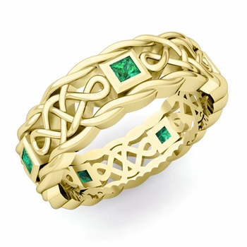 Princess Cut Emerald Ring in 18k Gold Celtic Knot Wedding Band, 7mm