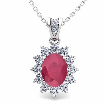 Diamond and Ruby Necklace in 14k Gold Halo Pendant 8x6mm