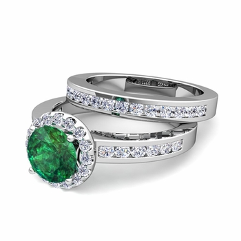 Halo Bridal Set: Diamond and Emerald Engagement Wedding Ring in Platinum, 7mm