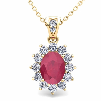 Diamond and Ruby Necklace in 18k Gold Halo Pendant 8x6mm
