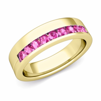 Channel Set Comfort Fit Pink Sapphire Wedding Ring in 18k Gold, 4mm