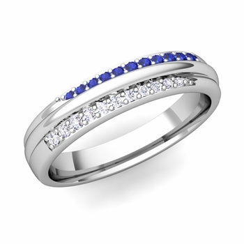 Brilliant Pave Diamond and Sapphire Wedding Ring in Platinum, 3.5mm