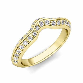 Vintage Inspired Curved Diamond Wedding Ring in 18k Gold