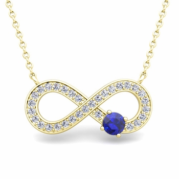 Solitaire Sapphire and Diamond Infinity Necklace in 18k White or Yellow Gold