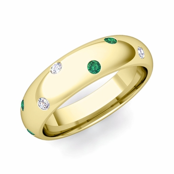 Scattered Emerald and Diamond Wedding Eternity Band in 18k Gold, 5mm