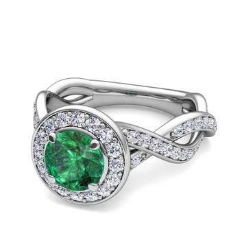 Infinity Diamond and Emerald Halo Engagement Ring in 14k Gold, 7mm