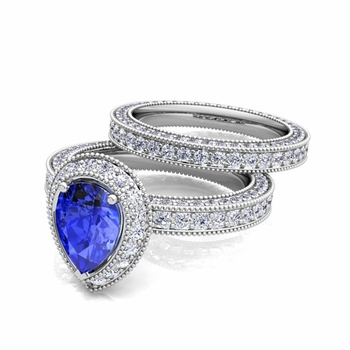 Milgrain Pear Shaped Ceylon Sapphire Engagement Ring Bridal Set in 14k Gold, 8x6mm