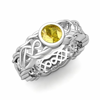 Solitaire Yellow Sapphire Ring in Platinum Celtic Knot Wedding Band, 5.5mm
