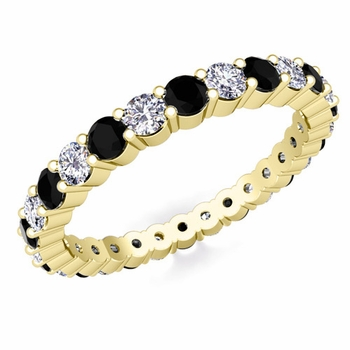 Pave Black and White Diamond Eternity Band in 18k Gold