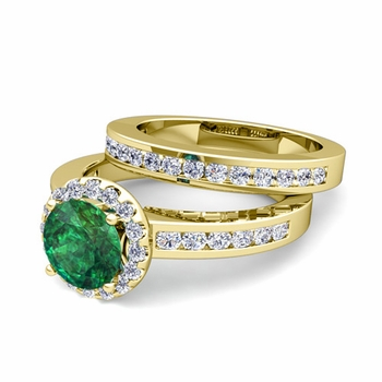 Halo Bridal Set: Diamond and Emerald Engagement Wedding Ring in 18k Gold, 7mm