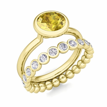 Bezel Set Yellow Sapphire Ring and Diamond Wedding Ring Bridal Set in 18k Gold, 7mm