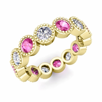 Milgrain Pink Sapphire and Diamond Eternity Band in 18k Gold 1.90 cttw