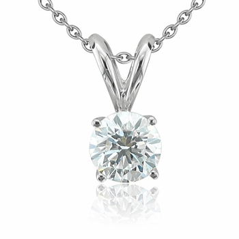Solitaire Diamond Necklace in 14k White Gold, 4-Prong G, SI1, 0.50 ct