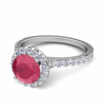 Petite Pave Set Diamond and Ruby Halo Engagement Ring in Platinum, 5mm