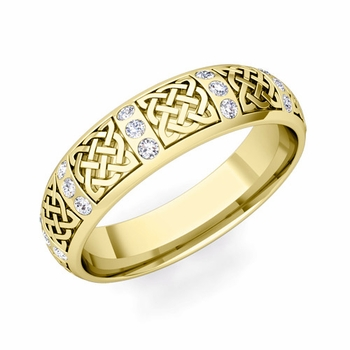 Diamond Wedding Ring in 18k Gold Celtic Knot Wedding Band, 6mm