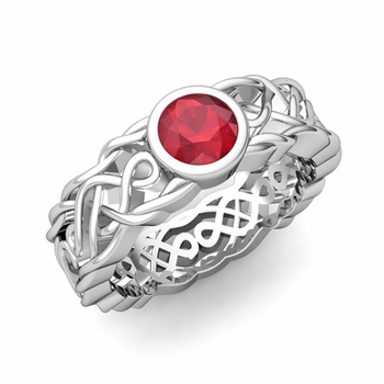 Solitaire Ruby Ring in Platinum Celtic Knot Wedding Band, 5.5mm