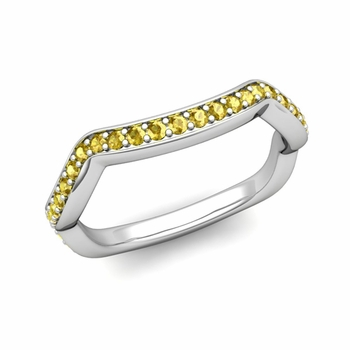 Unique Curved Yellow Sapphire Wedding Ring Band in Platinum