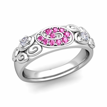 Swirl Diamond and Pink Sapphire Wedding Ring Band in 14k Gold, 5.5mm