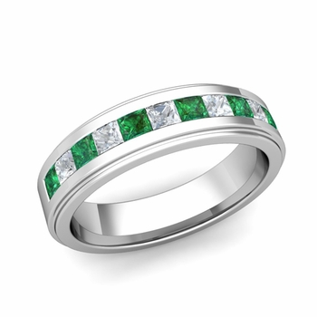 Channel Set Princess Cut Diamond and Emerald Mens Wedding Band in Platinum, 5.5mm