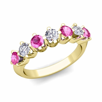 Crown Diamond and Pink Sapphire Ring in 18k Gold Knife Edge Wedding Band