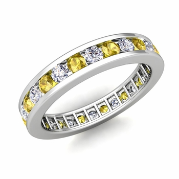 Channel Set Diamond and Yellow Sapphire Eternity Band in Platinum