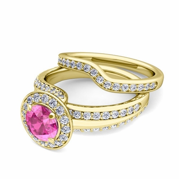 Wave Diamond and Pink Sapphire Engagement Ring Bridal Set in 18k Gold, 7mm