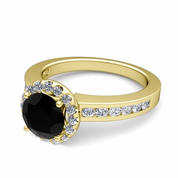 Black and White Diamond Halo Engagement Ring in 18k Gold Channel Set Ring, 7mm