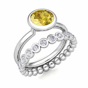 Bezel Set Yellow Sapphire Ring and Diamond Wedding Ring Bridal Set in 14k Gold, 7mm