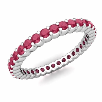 Petite Pave Ruby Eternity Band Ring in Platinum