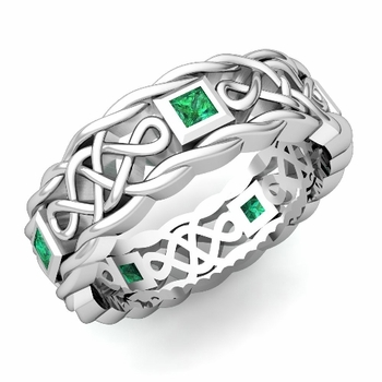 Princess Cut Emerald Ring in Platinum Celtic Knot Wedding Band, 7mm