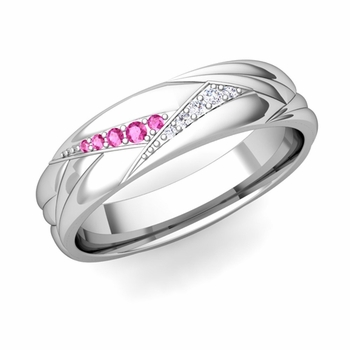 Wave Mens Wedding Band in 14k Gold Diamond and Pink Sapphire Ring, 5.5mm