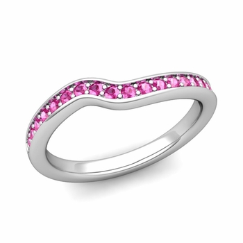 Petite Curved Pink Sapphire Wedding Band Ring in 14k Gold