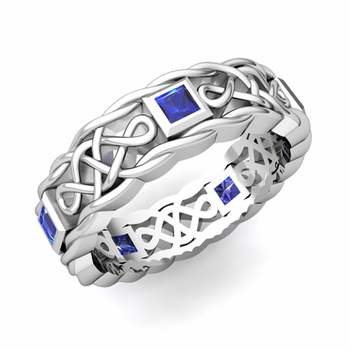 Princess Cut Sapphire Ring in Platinum Celtic Knot Wedding Band, 5mm