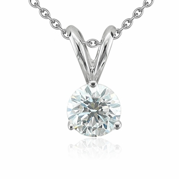 Solitaire Diamond Necklace in 14k White Gold, 3-Prong G, SI1, 0.50 ct