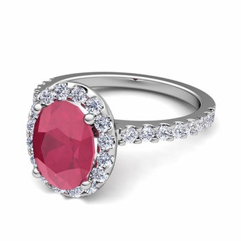 Petite Pave Set Diamond and Ruby Halo Engagement Ring in 14k Gold, 7x5mm