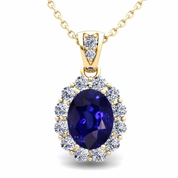 Halo Diamond and Sapphire Necklace in 18k Gold Pendant 8x6mm