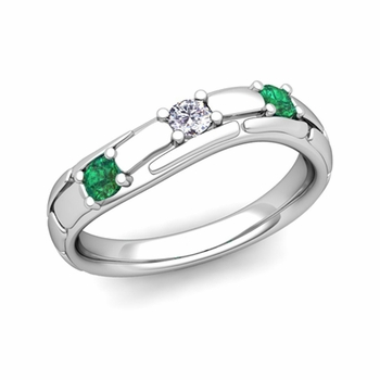 Organica 3 Stone Diamond Emerald Wedding Ring in 14k Gold, 3mm