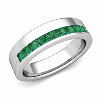 Channel Set Comfort Fit Emerald Wedding Ring in Platinum, 4mm