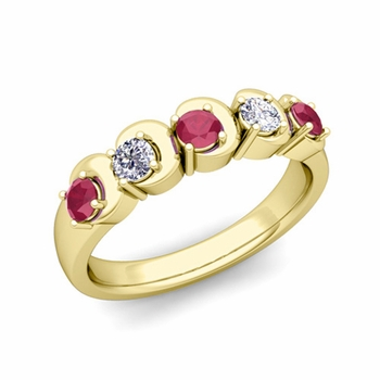 Organica 5 Stone Diamond and Ruby Wedding Ring in 18k Gold, 3.5mm