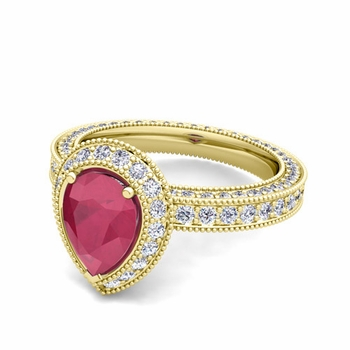 Milgrain Pear Shaped Ruby and Diamond Engagement Ring in 18k Gold, 8x6mm