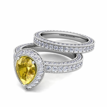 Milgrain Pear Shaped Yellow Sapphire Engagement Ring Bridal Set in 14k Gold, 7x5mm